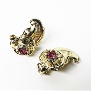 Vintage Clip Pink Crystal with Gold Leaf Earrings